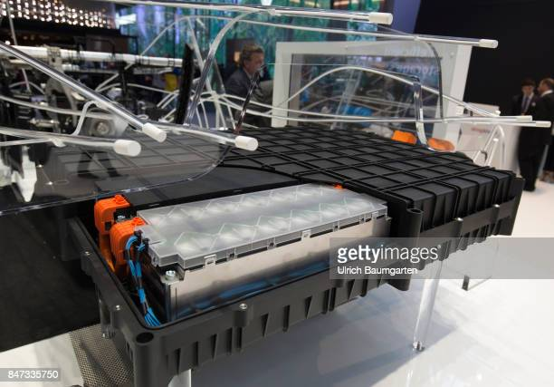International Motor Show 2017 in Frankfurt Symbol photo on the topic electromobility ebattery environment etc The photo shows an car ebattery