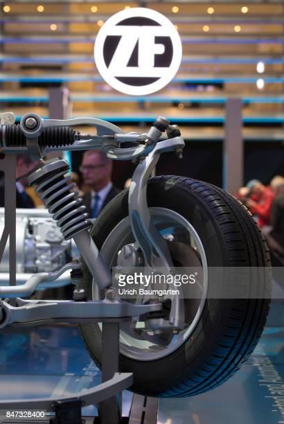 International Motor Show 2017 in Frankfurt Symbol photo ZF Friedrichshafen automotive supplier Logo ZF car wheel suspension axle etc