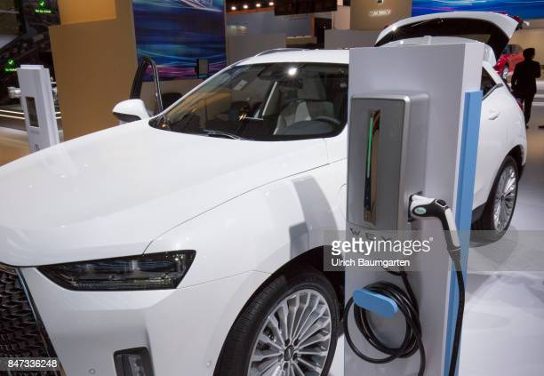 International Motor Show 2017 in Frankfurt The Wey P8 PluginHybrid of the Chinese automotive brand Wey with electric charging station