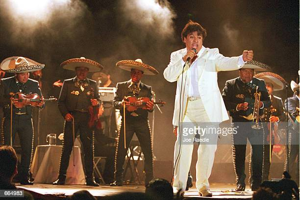 International music star Juan Gabriel sings June 26 2000 during a concert in Ciudad Juarez Mexico The concert was organized by the Revolutionary...