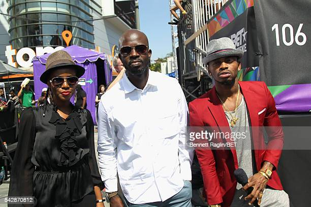 BET International nominees MzVee Black Coffee and Diamond Platnumz attend 106 Park sponsored by Apple Music during the 2016 BET Experience at...