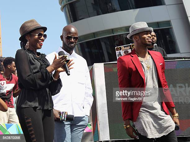 BET International nominees MzVee Black Coffee and Diamond Platnumz speak onstage during 106 Park sponsored by Apple Music during the 2016 BET...