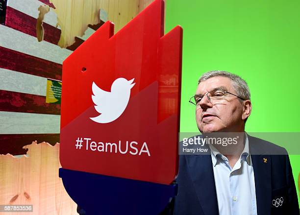 International Olympic Committe President Thomas Bach prepares a tweet in the Twitter room at the USA House on August 3 2016 in Rio de Janeiro Brazil