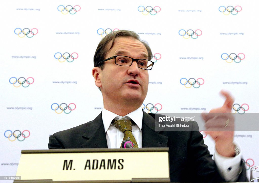 International Olympic Committee director of communication Mark Adams speaks during a press conference after the IOC executive board meeting on February 12, 2013 in Lausanne, Switzerland. IOC decides to drop Wrestling from 2020 Summer Olympic.