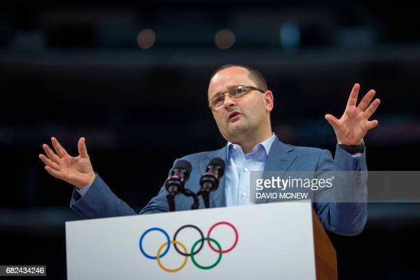 International Olympic Committee Evaluation Commission Chair Patrick Baumann speaks during a press conference at Staples Center concluding the IOC...