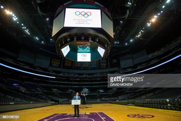 International Olympic Committee Evaluation Commission Chair Patrick Baumann speaks during a press conference at the Staples Center concluding the IOC...