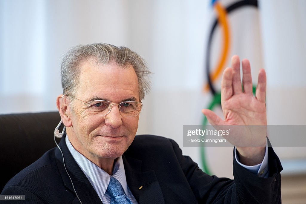 International Olympic Committee (IOC) Executive Board President <a gi-track='captionPersonalityLinkClicked' href=/galleries/search?phrase=Jacques+Rogge&family=editorial&specificpeople=206143 ng-click='$event.stopPropagation()'>Jacques Rogge</a> gestures during the IOC Executive board meeting at the Lausanne Palace Hotel on February 12, 2013 in Lausanne, Switzerland. The two day board meeting is taking place to ensure the relevance of the Games.