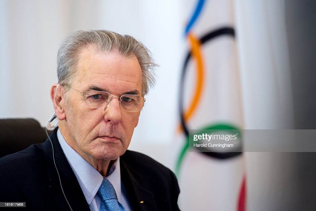 International Olympic Committee (IOC) Executive Board President Jacques Rogge looks on during the IOC Executive board meeting at the Lausanne Palace Hotel on February 12, 2013 in Lausanne, Switzerland. The two day board meeting is taking place to ensure the relevance of the Games.