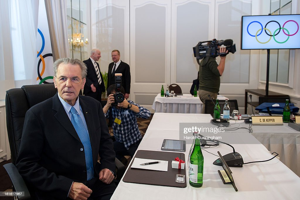 International Olympic Committee (IOC) Executive Board President <a gi-track='captionPersonalityLinkClicked' href=/galleries/search?phrase=Jacques+Rogge&family=editorial&specificpeople=206143 ng-click='$event.stopPropagation()'>Jacques Rogge</a> looks on during the IOC Executive board meeting at the Lausanne Palace Hotel on February 12, 2013 in Lausanne, Switzerland. The two day board meeting is taking place to ensure the relevance of the Games.