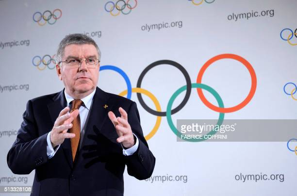 International Olympic Committee IOC President Thomas Bach attends a press conference closing an executive meeting on March 2 2016 in Lausanne French...