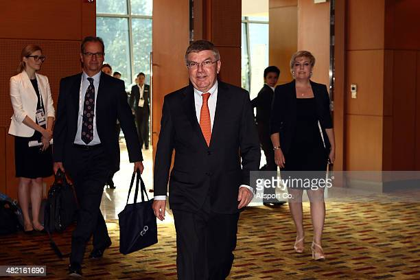 International Olympic Committee President and 1976 Olympic Fencing Champion Thomas Bach arrives at the Kuala Lumpur Convention Centre for the IOC...