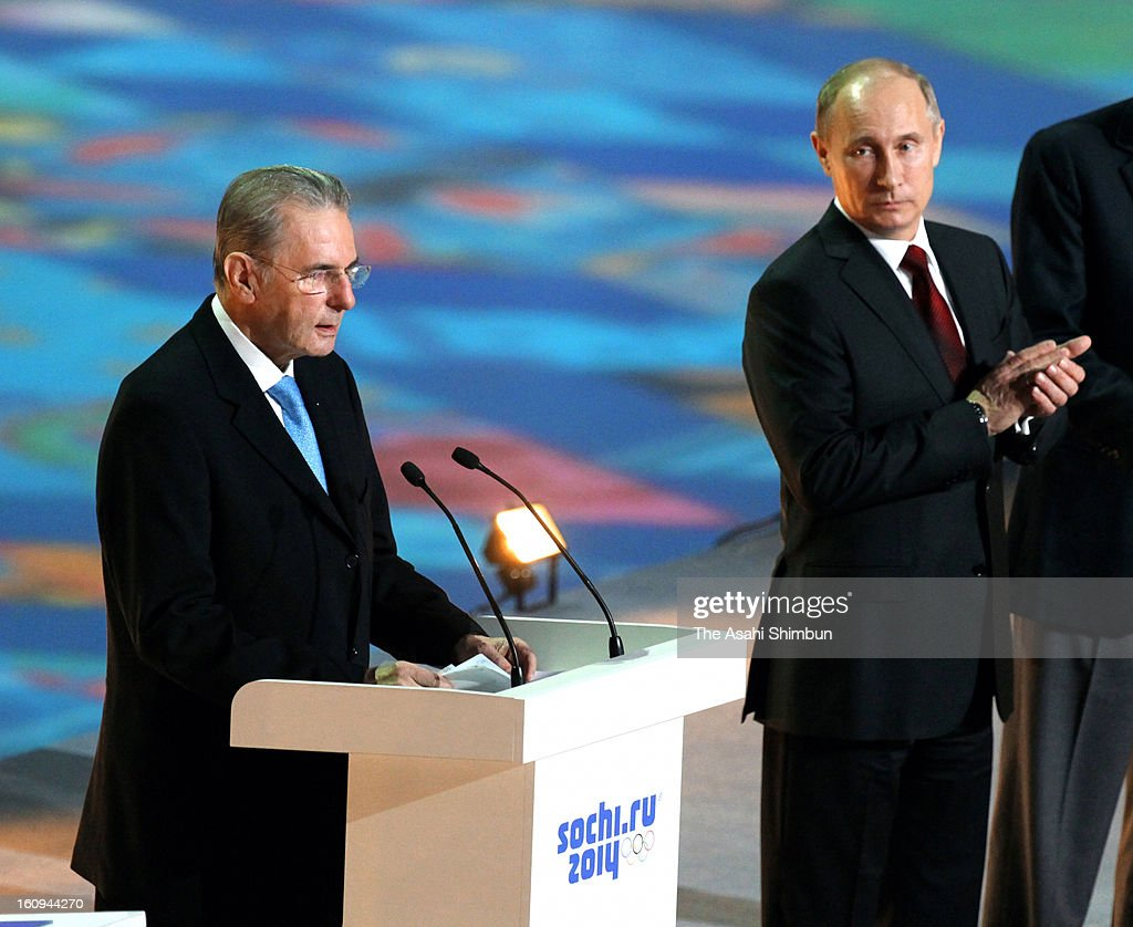International Olympic Committee President <a gi-track='captionPersonalityLinkClicked' href=/galleries/search?phrase=Jacques+Rogge&family=editorial&specificpeople=206143 ng-click='$event.stopPropagation()'>Jacques Rogge</a> addresses while Russian President <a gi-track='captionPersonalityLinkClicked' href=/galleries/search?phrase=Vladimir+Putin&family=editorial&specificpeople=154896 ng-click='$event.stopPropagation()'>Vladimir Putin</a> listens during the 'One Year To Go Before Sochi Winter Olympic' ceremony at Bolshoi Ice Dome on February 7, 2013 in Sochi, Russia. Sochi Winter Olympics begins on February 7, 2014.