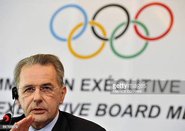 International Olympic Committee president Jacques Rogge gestures during a press conference after an executive board meeting on August 13 2009 in...