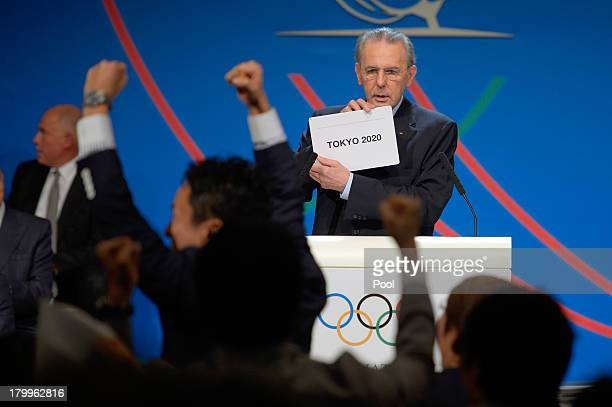 International Olympic Committee President Jacques Rogge pulls out the name of the city of Tokyo elected to host the 2020 Summer Olympics during a...