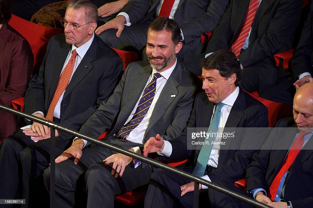 International Olympic Committee (CIO) President Jaques Rogge, Prince Felipe of Spain, Madrid Regional President Ignacio Gonzalez and Spain's Minister for Education, Culture and Sport <a gi-track='captionPersonalityLinkClicked' href=/galleries/search?phrase=Jose+Ignacio+Wert&family=editorial&specificpeople=8761709 ng-click='$event.stopPropagation()'>Jose Ignacio Wert</a> Ortega attend Spanish Olympic Commitee Centenary Gala at El Canal theater on December 12, 2012 in Madrid, Spain.