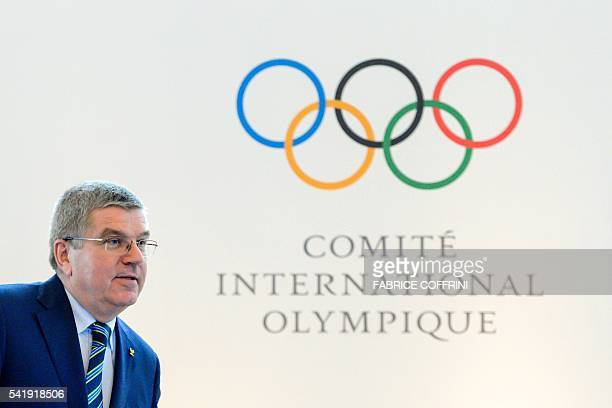 International Olympic Committee president Thomas Bach arrives at the opening of an Olympic summit on June 21 2016 in Lausanne For Russia's track and...