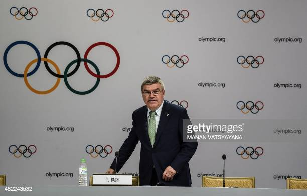 International Olympic Committee president Thomas Bach arrives for a press briefing in Kuala Lumpur on July 29 2015 The United States has pledged to...