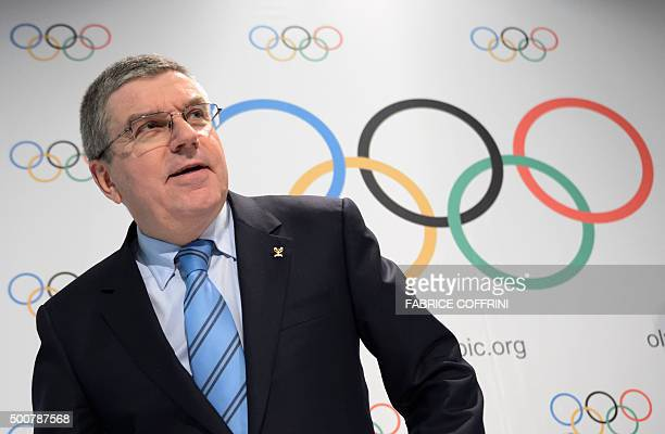 International Olympic Committee President Thomas Bach arrives to attend a press conference closing an executive meeting on December 10 2015 at the...