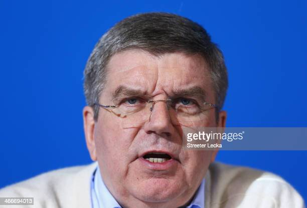 International Olympic Committee President Thomas Bach attends a press conference ahead of the Sochi 2014 Winter Olympics at the Main Press Centre in...