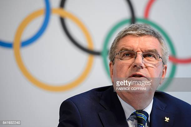 International Olympic Committee president Thomas Bach attends a press conference following an Olympic summit on June 21 2016 in Lausanne For Russia's...