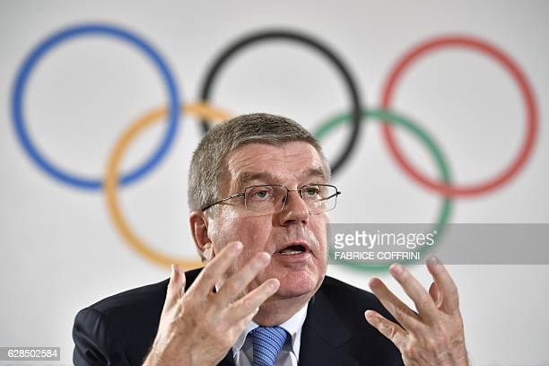 International Olympic Committee President Thomas Bach gives a press conference on December 8 2016 in Lausanne following a IOC threeday meeting / AFP...