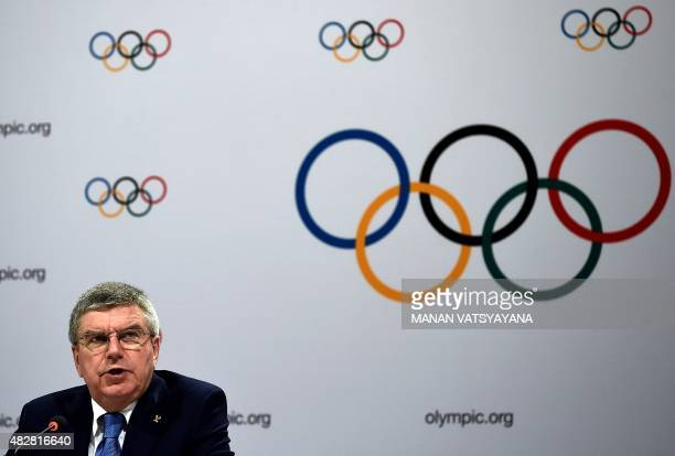 International Olympic Committee president Thomas Bach gives his closing remarks during a press conference at the conclusion of the 128th...