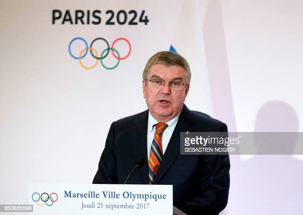 International Olympic Committee President Thomas Bach holds a press conference during a visit to the site of the future Olympic Sailing venue in...