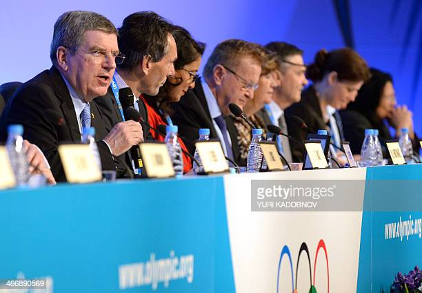International Olympic Committee President Thomas Bach holds a session of the IOC in Sochi on February 5 two days before the opening of the 2014 Sochi...