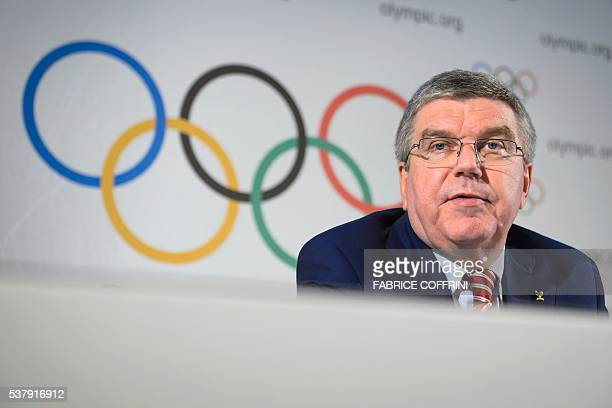 International Olympic Committee president Thomas Bach reacts during a press conference following an IOC executive meeting in Lausanne on June 3 2016...