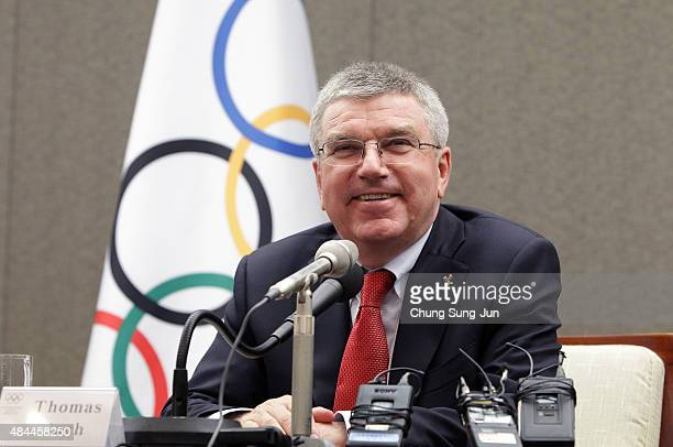 International Olympic Committee president Thomas Bach speaks during a press conference on August 18 2015 in Seoul South Korea IOC President Bach is...