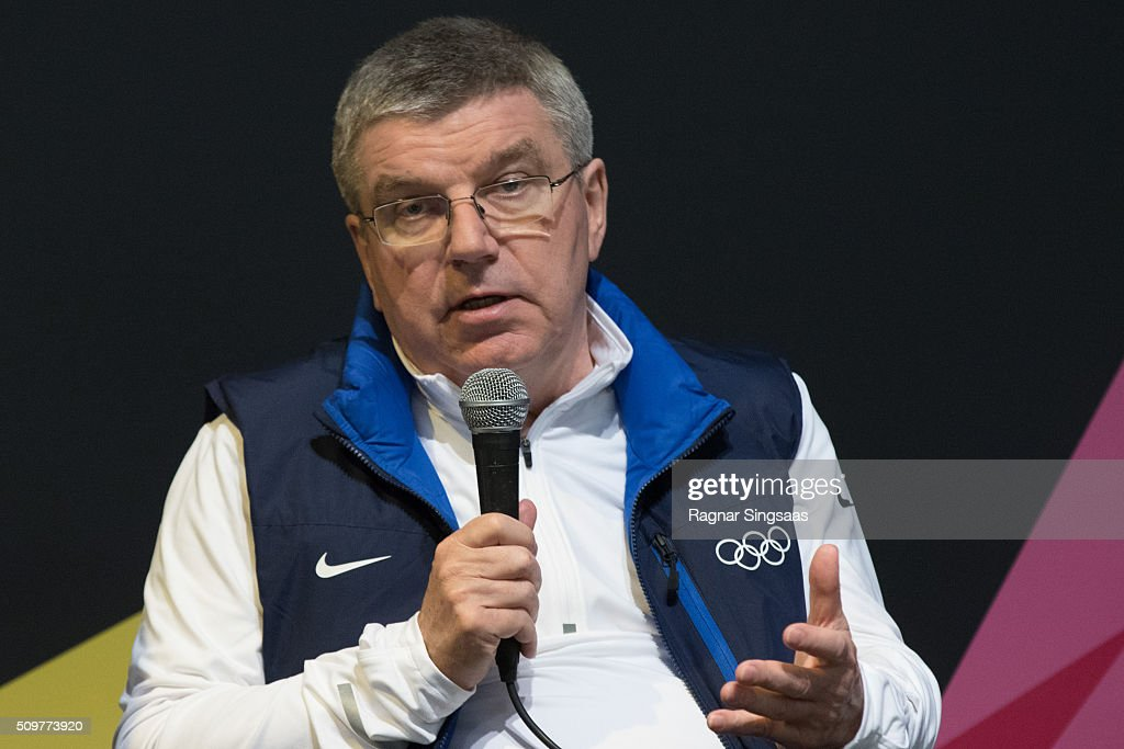 International Olympic Committee (IOC) President <a gi-track='captionPersonalityLinkClicked' href=/galleries/search?phrase=Thomas+Bach&family=editorial&specificpeople=610149 ng-click='$event.stopPropagation()'>Thomas Bach</a> speaks during a press conference prior to the 2016 Youth Olympic Games on February 12, 2016 in Lillehammer, Norway.