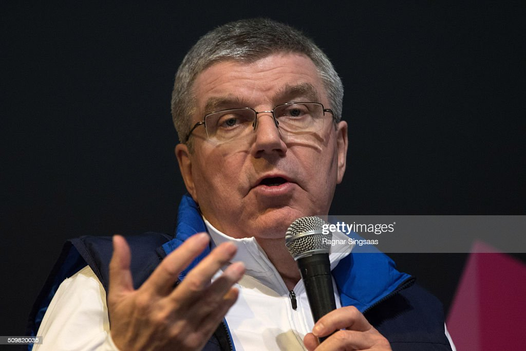 International Olympic Committee (IOC) President <a gi-track='captionPersonalityLinkClicked' href=/galleries/search?phrase=Thomas+Bach&family=editorial&specificpeople=610149 ng-click='$event.stopPropagation()'>Thomas Bach</a> speaks during a press conference prior to the Lillehammer 2016 Youth Olympic Games on February 12, 2016 in Lillehammer, Norway.