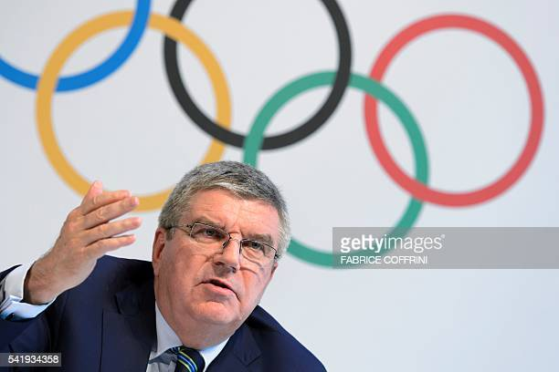 International Olympic Committee president Thomas Bach speaks during a press conference following an Olympic summit on June 21 2016 in Lausanne...