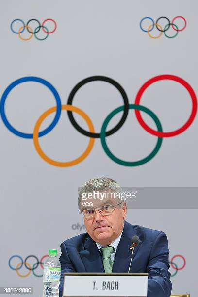 International Olympic Committee President Thomas Bach speaks during the IOC Executive Board Meeting prior to the 128th IOC Session at the Kuala...