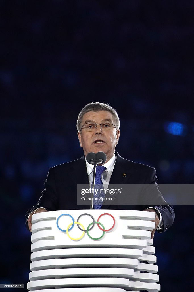 International Olympic Committee President Thomas Bach talks during the Opening Ceremony of the Rio 2016 Olympic Games at Maracana Stadium on August 5, 2016 in Rio de Janeiro, Brazil.