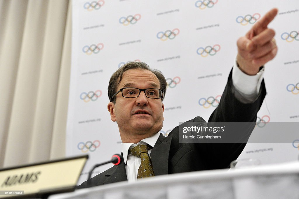 International Olympic Committee (IOC) spokesman Mark Adams announces the executive board decision to drop wrestling from the program for the 2020 Summer Games during the IOC Executive board meeting at the Lausanne Palace Hotel on February 12, 2013 in Lausanne, Switzerland. The two day board meeting is taking place to ensure the relevance of the Games.