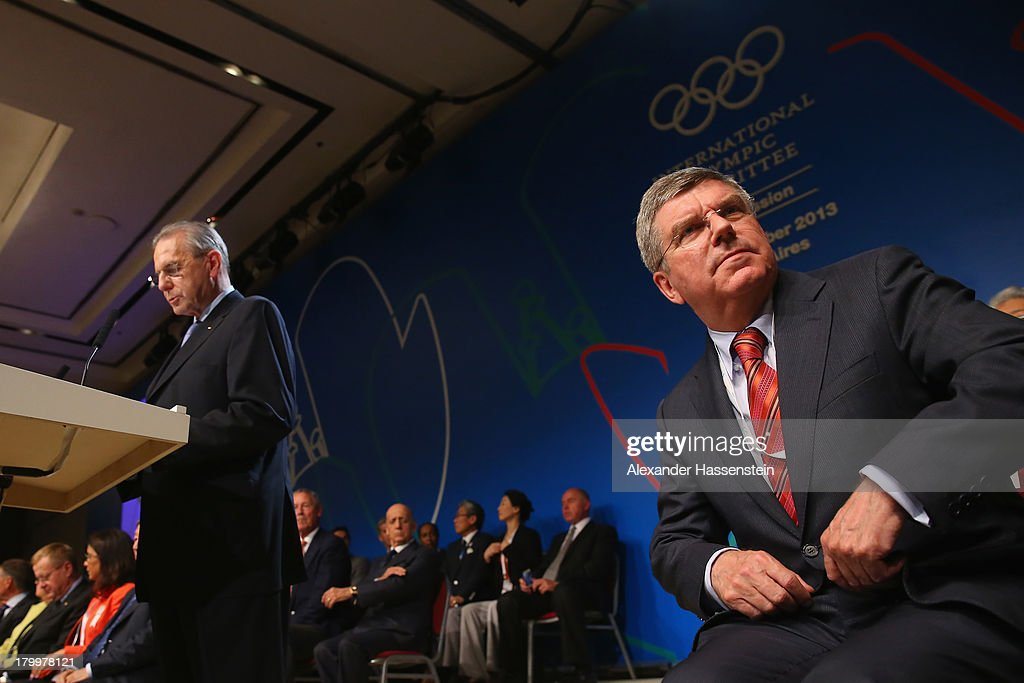 International Olympic Committee (IOC) Vice President and presidency candidate Thomas Bach (R) and International Olympic Committee (IOC) President Jacques Rogge (L) looks on during the 125th IOC Session 2020 Olympics Host City Announcement at Hilton Hotel on September 7, 2013 in Buenos Aires, Argentina.