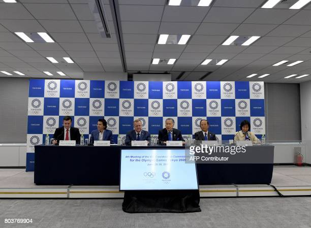 International Olympic Committee vice president John Coates listens to Tokyo 2020 Olympics president Yoshiro Mori during a press conference with...