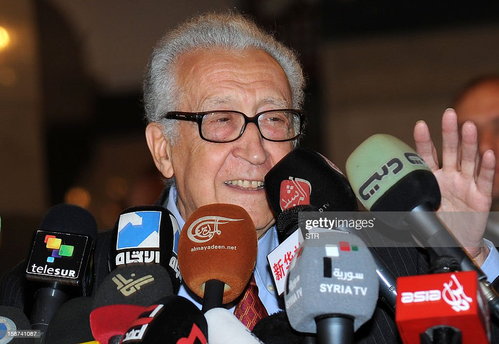 International peace envoy Lakhdar Brahimi gives a press conference at a Damascus hotel on December 27, 2012. Brahimi called for 'real' change in war-torn Syria and the installation of a transition government with full powers until elections can be held.