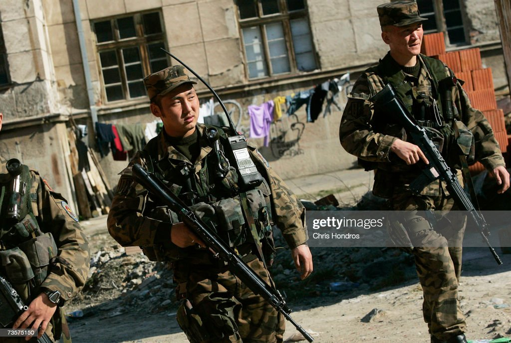 International peacekeeping troops from Thailand patrol the streets March 14, 2007 in Mitrovica, Kosovo. Before 1999 Mitrovica was a town where Serbs and ethnic Albanians lived side-by-side. It is now is Kosovo's most glaring symbol of separation, as the two populations quickly separated themselves after the fall of the Serbian government in Kosovo and occupied opposite banks of the Ibar river.