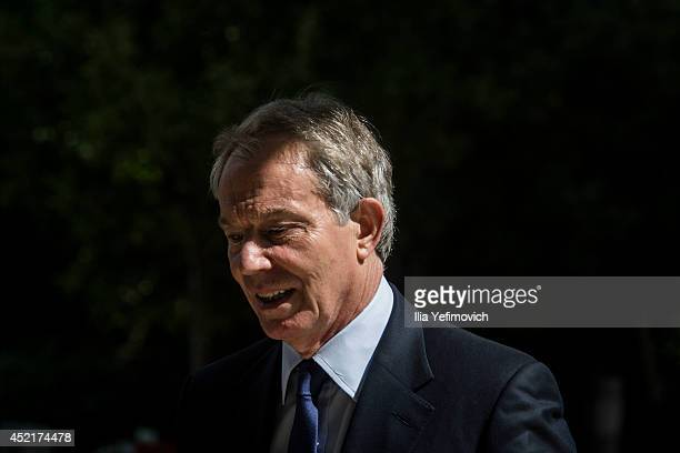 International Quartet Special Envoy Tony Blair seen during a press conference with Isreali President Shimon Peres on July 15 2014 in Jerusalem Israel...