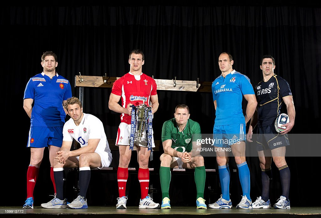 International rugby captains (from L-R) France's Pascal Pape, England's Chris Robshaw, Wales' Sam Warburton, Ireland's Jamie Heaslip, Italy's Sergio Parisse and Scotland's Kelly Brown pose for pictures during the official launch of the 2013 Six Nations International rugby tournament at the Hurlingham Club in London on January 23, 2013. The tournament kicks-off February 2 with Wales versus Ireland.