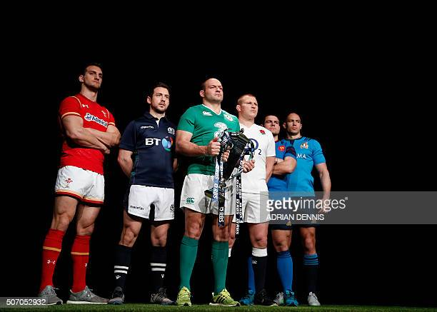 International rugby captains Wales' Sam Warburton Scotland's Greg Laidlaw Ireland's Rory Best holding the trophy England's Dylan Hartley France's...