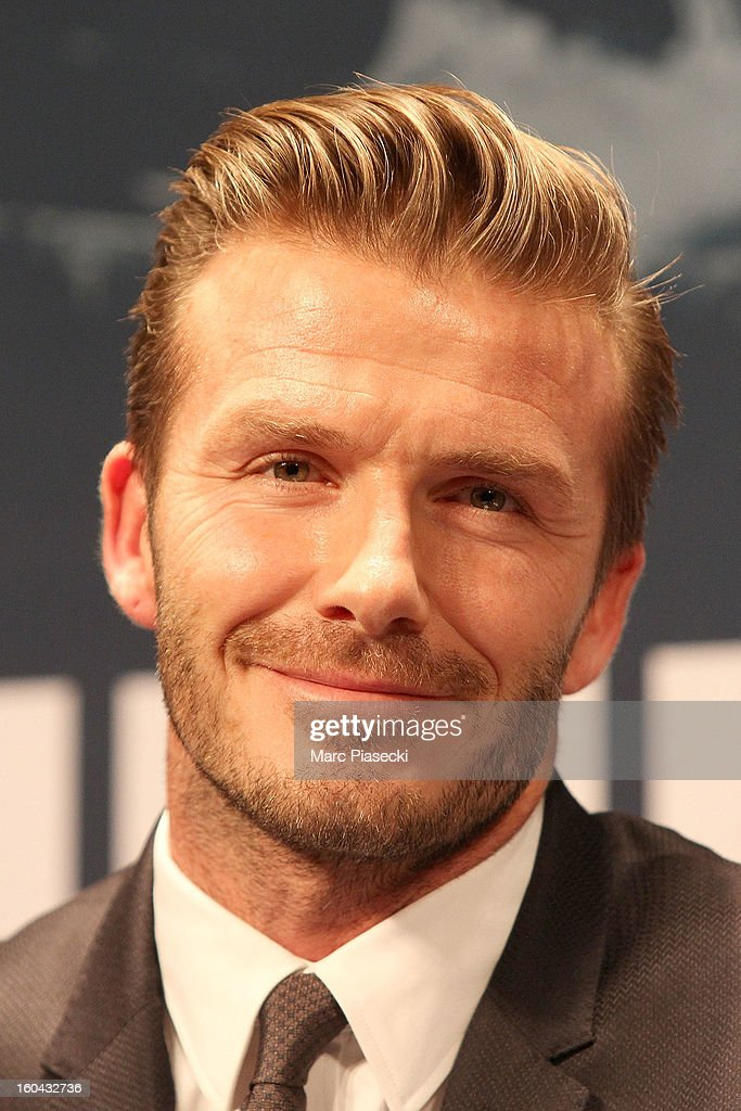 International soccer player <a gi-track='captionPersonalityLinkClicked' href=/galleries/search?phrase=David+Beckham&family=editorial&specificpeople=158480 ng-click='$event.stopPropagation()'>David Beckham</a> attends the press conference for his PSG signing at Parc des Princes on January 31, 2013 in Paris, France.
