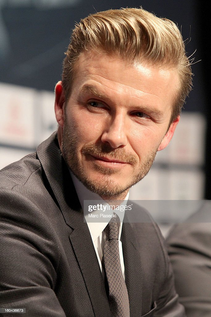 International soccer player David Beckham attends the press conference for his PSG signing at Parc des Princes on January 31, 2013 in Paris, France.
