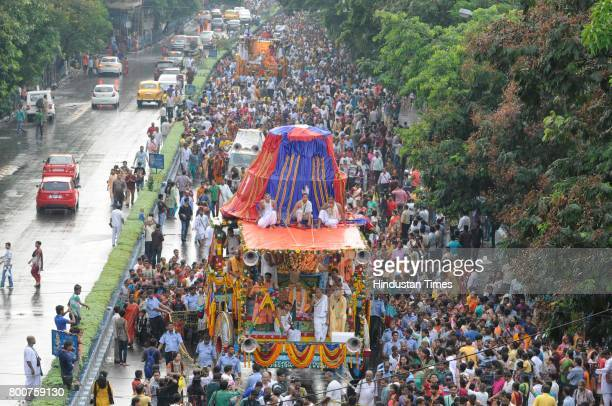 International Society for Krishna Consciousness celebrates 46th Jagannath Rath Yatra on June 25 2017 in Kolkata India More than 5000 devotees were...