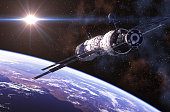 International Space Station In Outer Space. 3D Illustration.