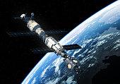 International Space Station Orbiting Earth. 3D Illustration.