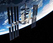International Space Station Orbiting Planet Earth. 3D Illustration.