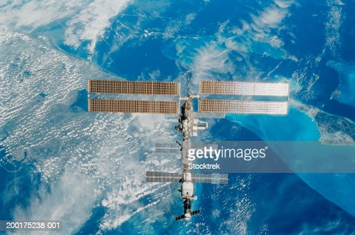 International Space Station over earth, view from satellite